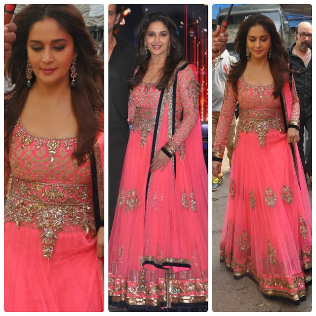 Bollywood actress Madhuri Dixit in Manish Malhotra outfit at Jhalak Dikhla Jaa's finale