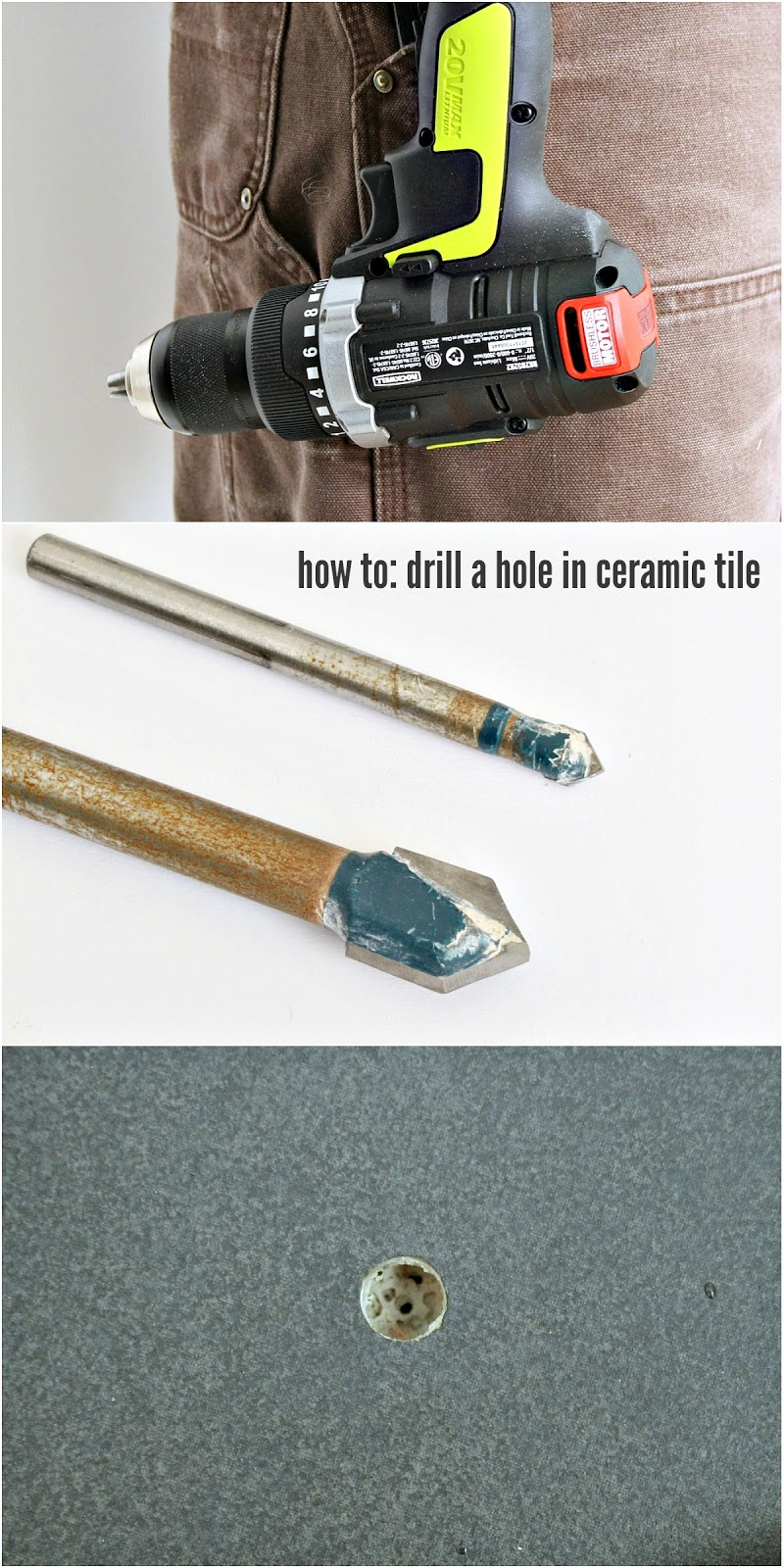 How do you drill a hole in ceramic tile
