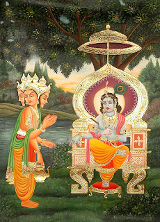 Brahma, the creator, conversing with Vishnu, the sustainer; Pahari painting.