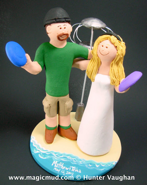 disc golfers wedding cake topper
