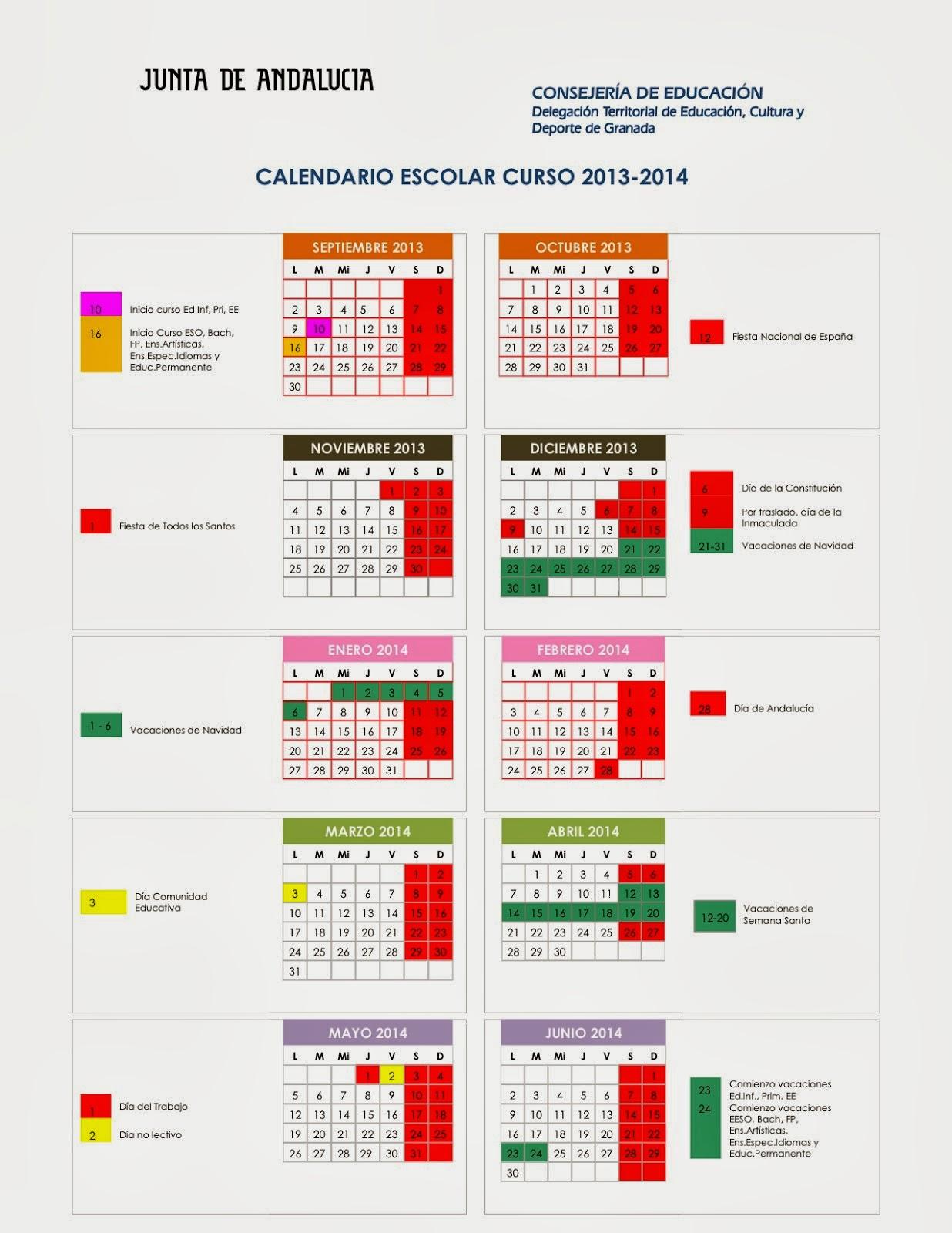 Calendario Escolar 2013/14