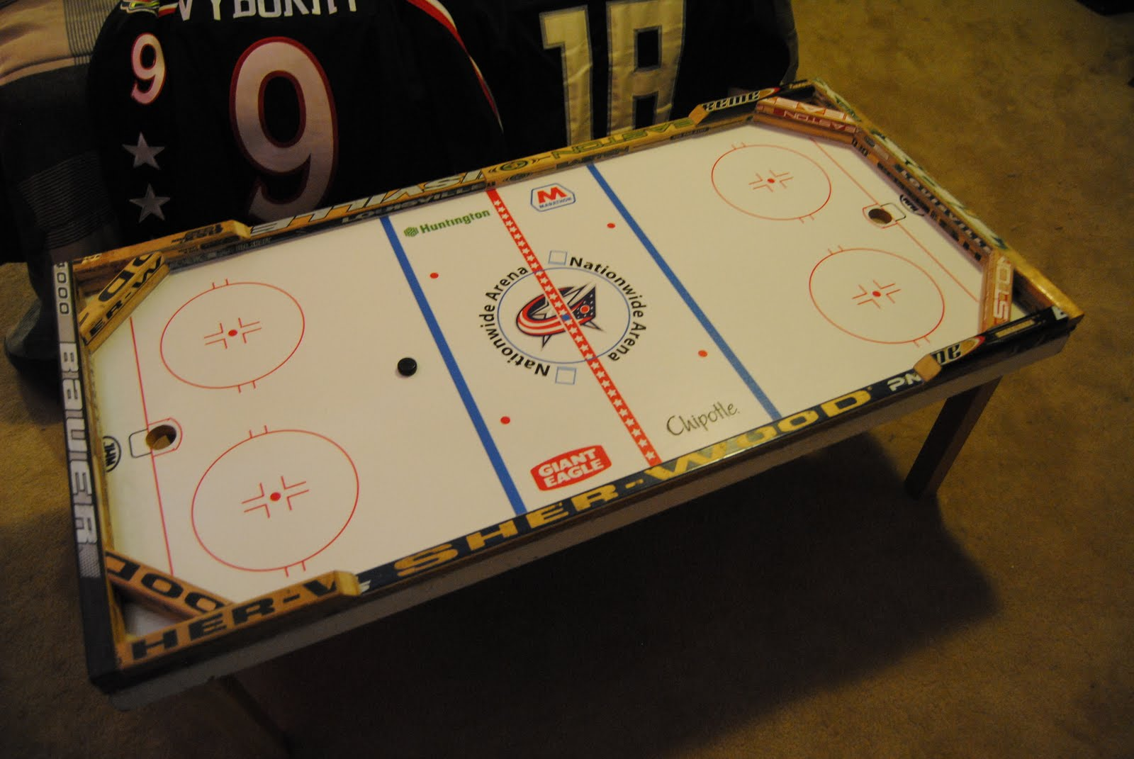 Blue Jackets Pucks And Stuff The Cbj Beer Hockey Coffee Table