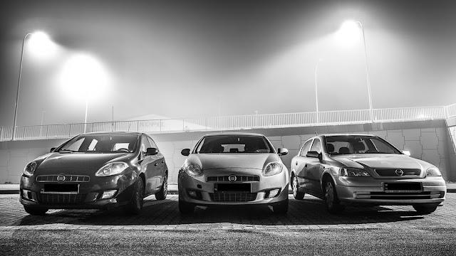 Fiat Bravo Opel Astra G II Cars Night photo photography