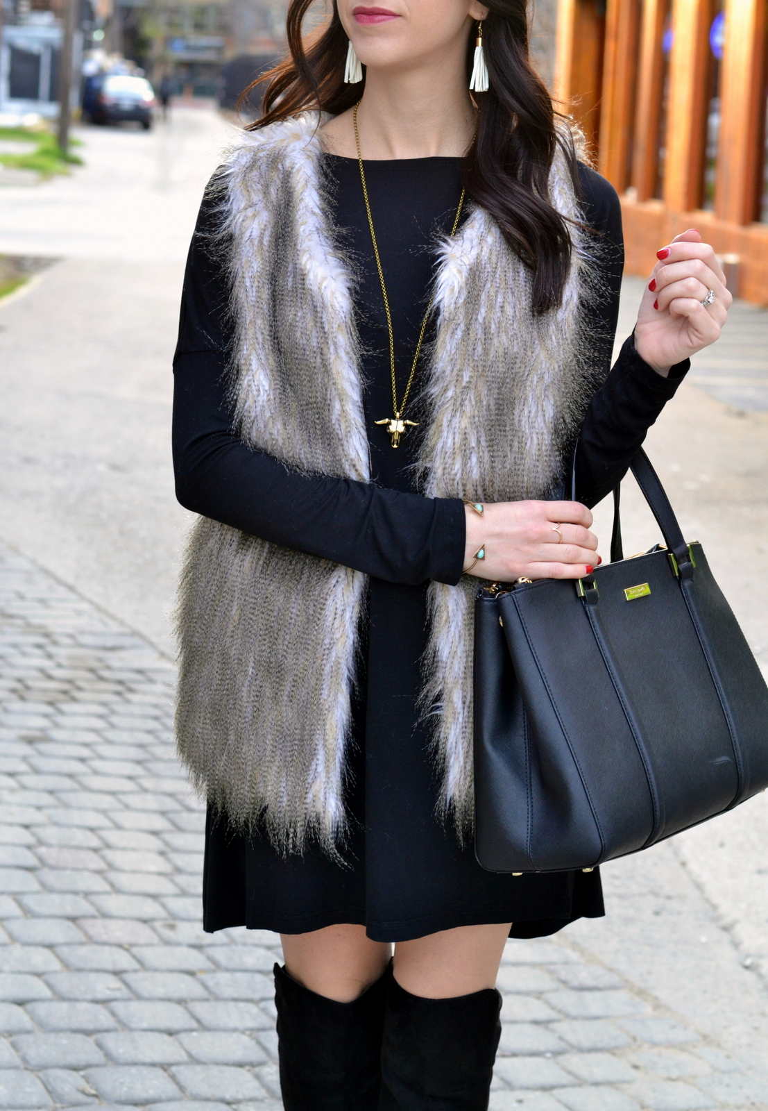 Tassel Earrings_Skull Necklace_Fur Vest_Kate Spade