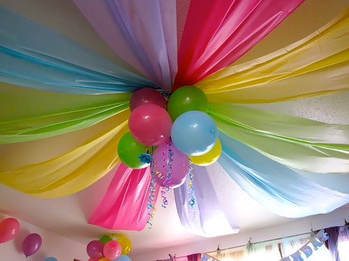 festive kids party ideas love this faux ceiling with plastic table clothes