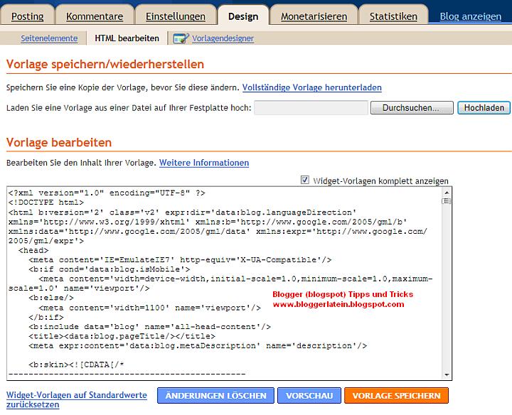 Html code blogger blogspot blog
