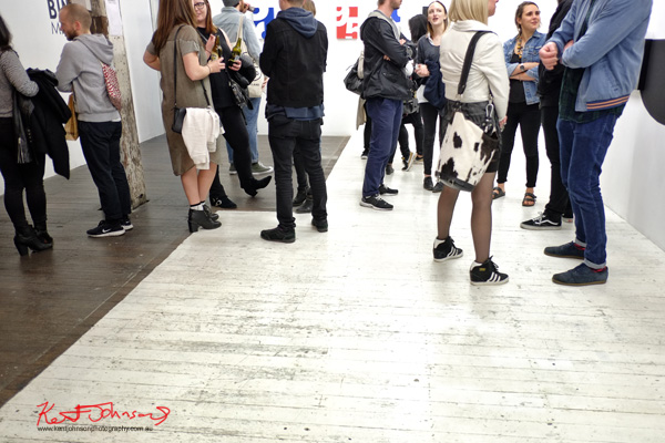 Art crowd, Street Fashion -  Mira Yuna at 'BINARY' China Heights Gallery. Photo by Kent Johnson.