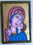 Icoană bizantină cu Maica Domnului și Pruncul Iisus - pictată
