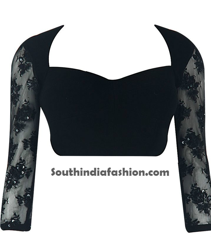 Saree blouse designs with net sleeves south india fashion for Net designs