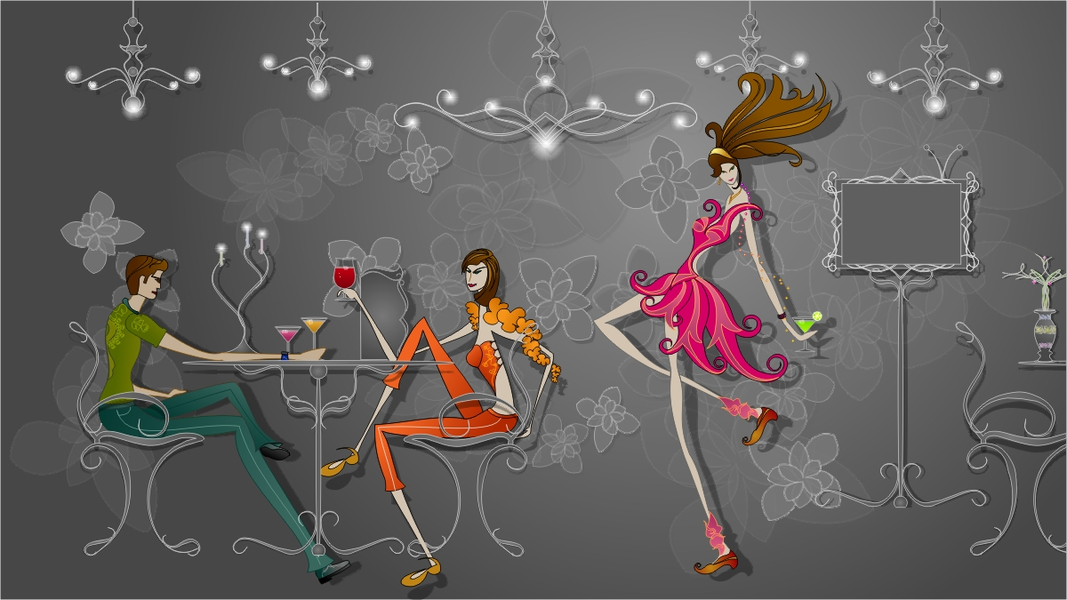 This fashion illustration is created on fashion café theme try to
