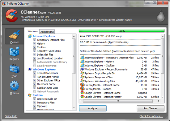 CCleaner for Windows v3.26