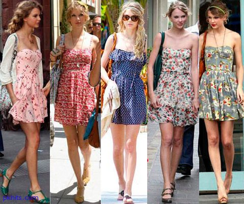 Feminine dresses with flower printTaylor Swift Fashion Style 2012