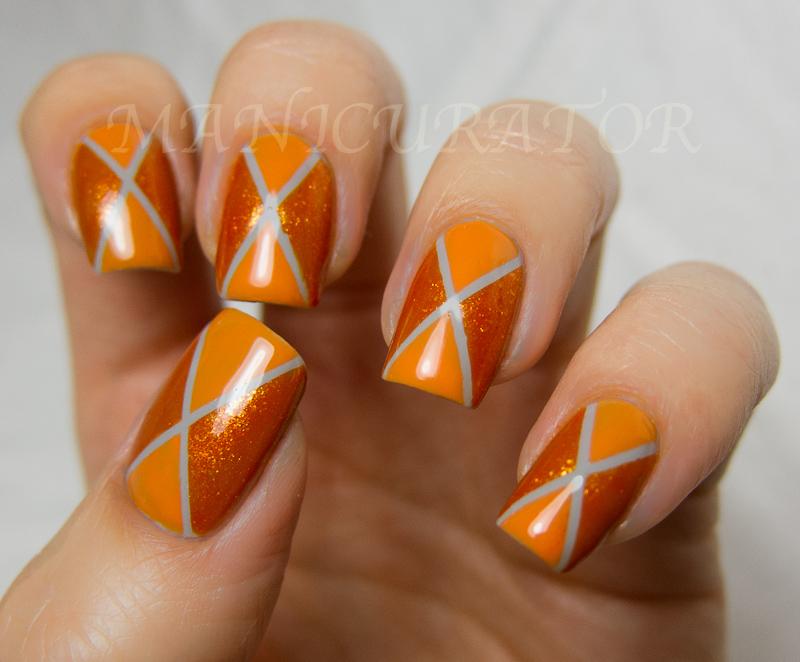 Manicurator 31dc day 2 orange nails argyle nail art with zoya