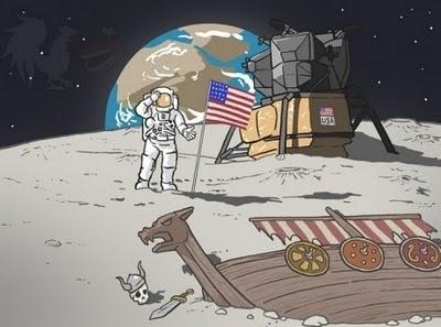 humor grafico vikingos en la luna