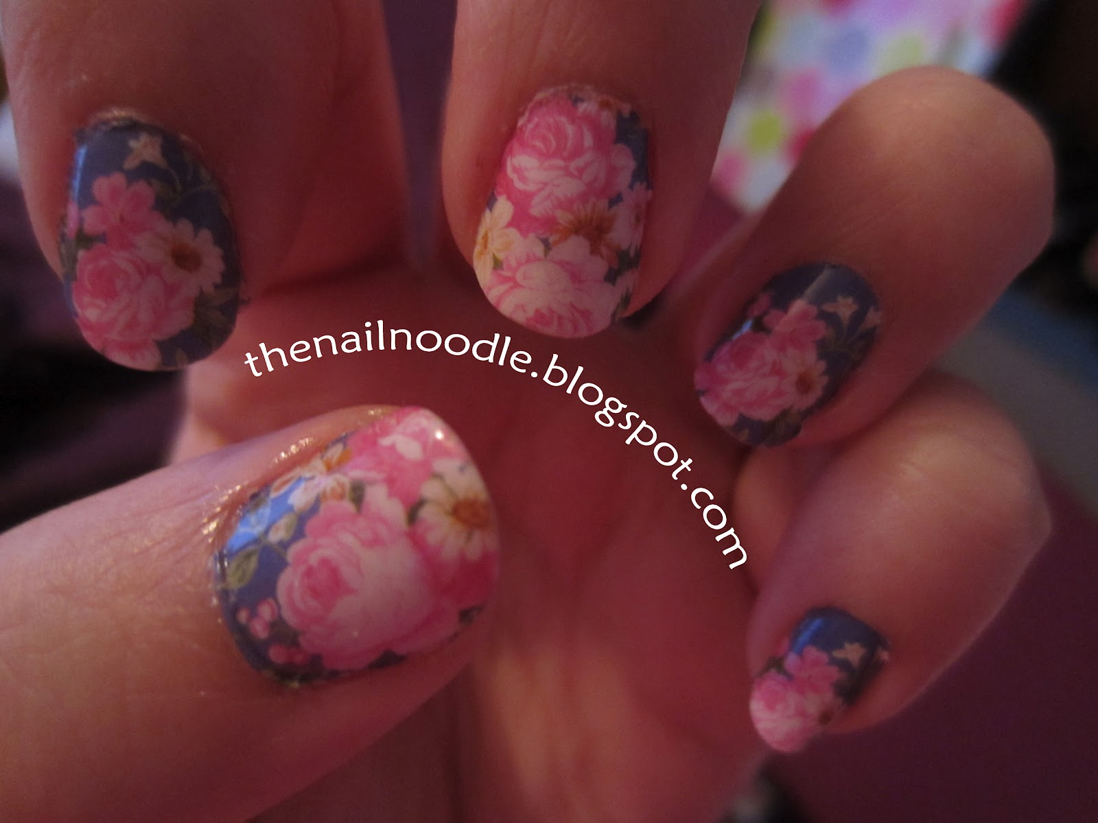 The Nail Noodle: Water Decals: Pink Flowers on Blue