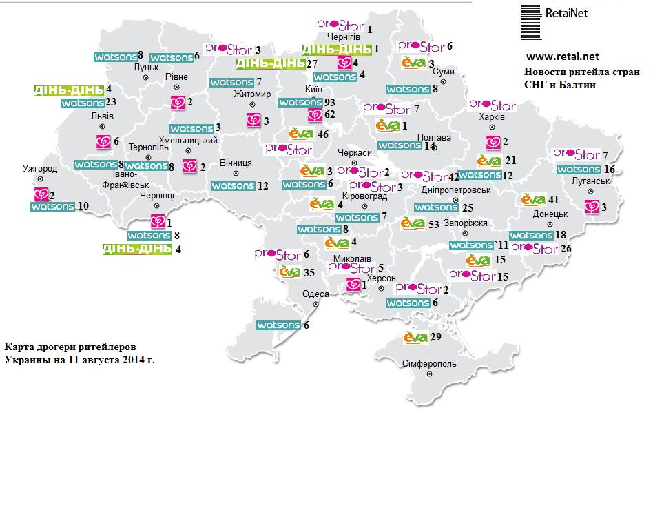 Карта дрогери ритейла Украины