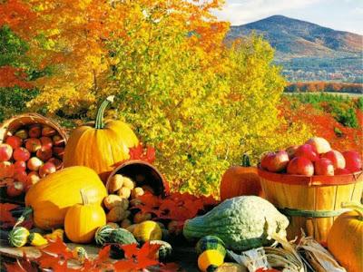 Pompoenen, appels en aardappelen in de herfst