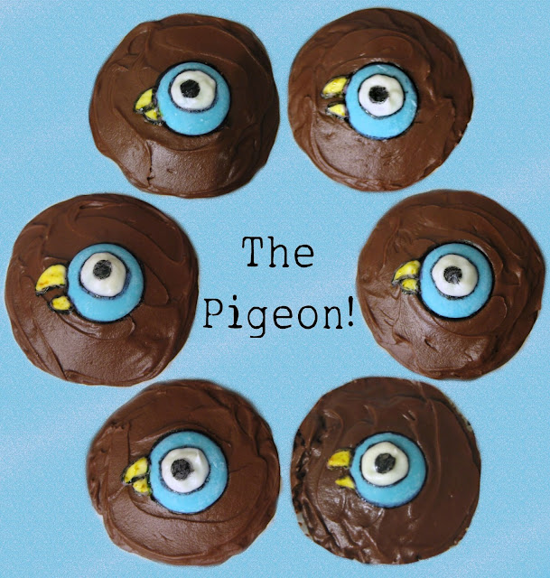 Mo Willems' The Pigeon Cupcakes - Close Up Overhead View
