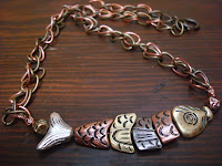 Brass and Copper Mixed-Metal Fish Necklace by hotGlued