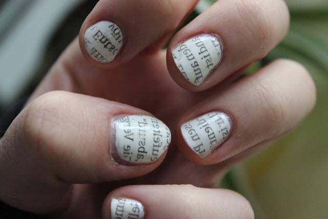 How To Nail Art Newspaper Print Nails Html