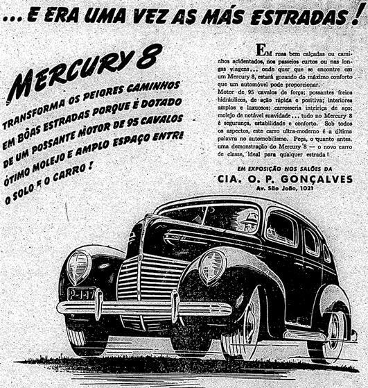Aposta automotiva para estradas ruins: Carro Mercury 8 - modelo de 1938.