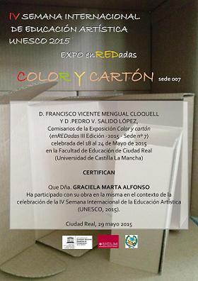 """Certificado """"IV Semana Internacional de Educación Artística UNESCO"""""""