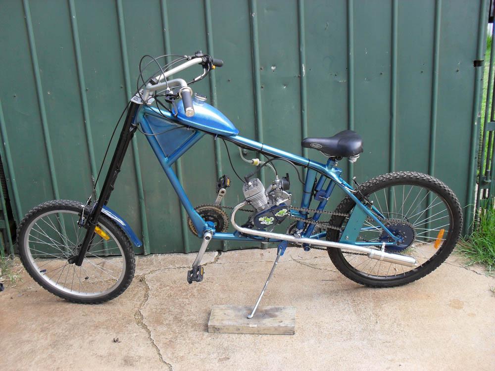 "James' motorized homemade chopper bike. """