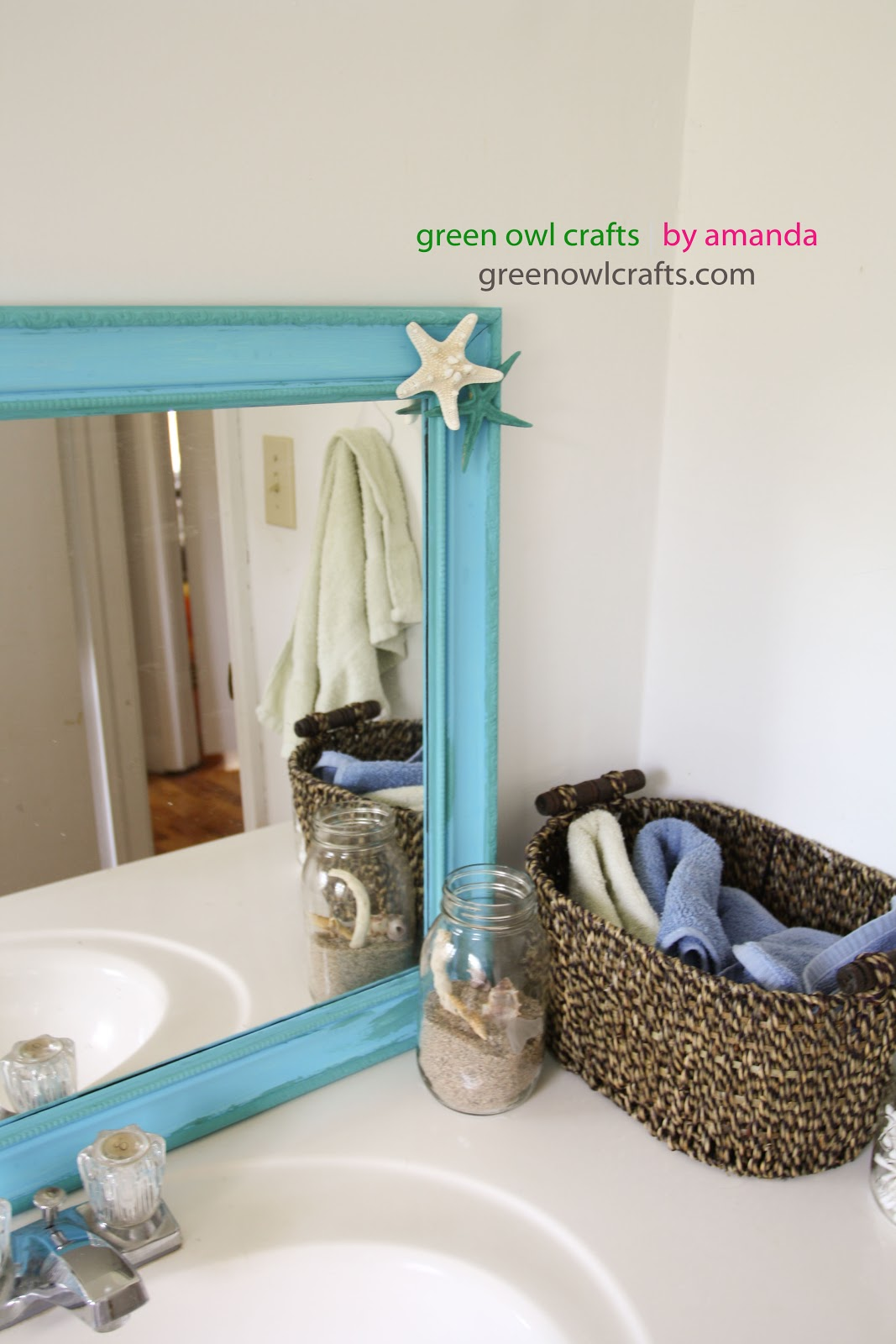 AmandaBaity Beach Bathroom Thrift Store Mirror Makeover
