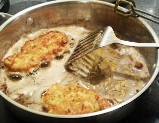 Frying the Chicken Frances in Olive Oil