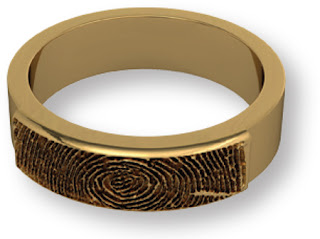 14k Yellow Gold Partial Fingerprint Band
