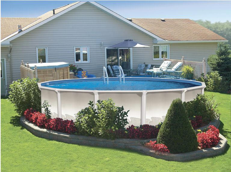 Above ground pool landscaping ideas home decorating ideas for Swimming pools ideas landscape