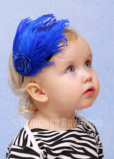 Royal Blue Feather Infant Toddler Baby Headband