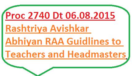 Rashtriya Avishkar Abhiyan RAA Guidlines to Headmasters and Science and Mathematics teachers