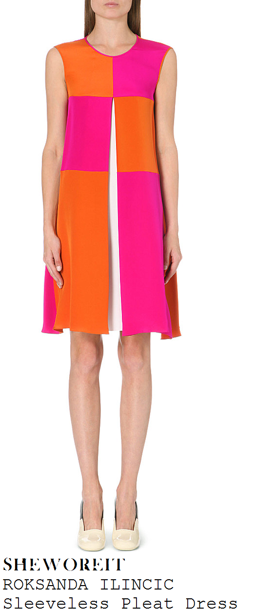 sarah-jane-crawford-bright-orange-pink-and-white-sleeveless-colour-blockpleat-check-dress-xtra-factor