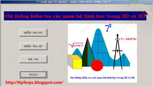 Source Visual C++ Mã nguồn Code Phần mềm kiểm tra các quan hệ trong hình học 2D và 3D + báo cáo