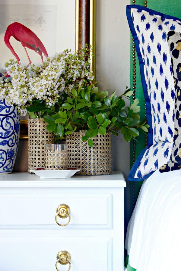 DIY, Cane covered vase, upholstered headboard, floral arrangement