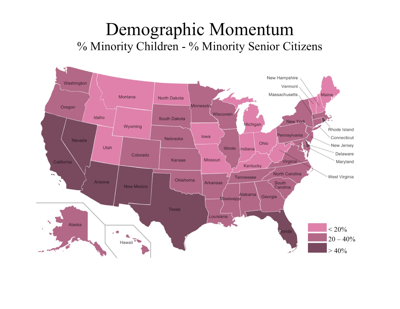 the second map shows the demographic momentum in each state represented as the percent of children who are minorities minus the percent of senior citizens