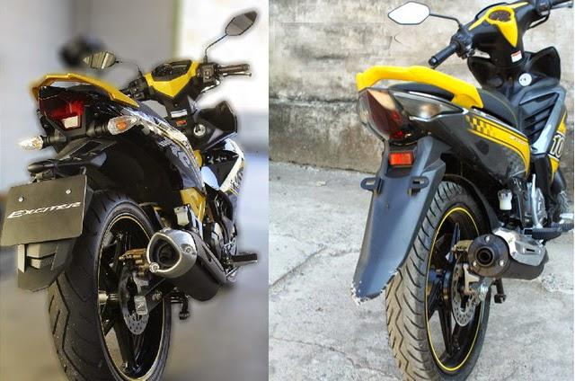 Đuôi xe của Yamaha Exciter 150 (bên trái màn hình) và 135.
