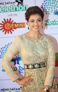 Kajal Agarwal Looks Super Cute in Designer Sarees at Memu Saitam Dinner with Stars Red Carpet