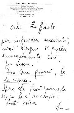 Una lettera di Tafuri che chiede un prestito ad un amico