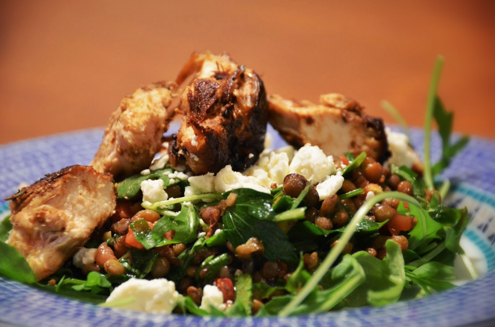 Lentil and Feta Salad with Pan Seared Chicken and Arugula | Cheesy Pennies