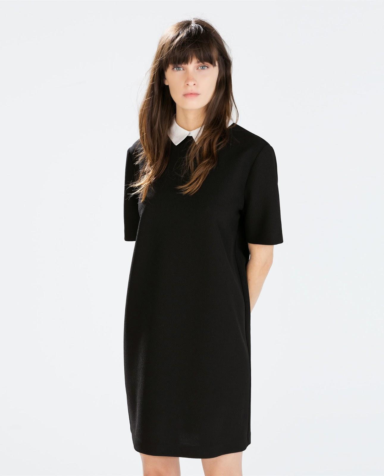 zara black dress with white collar