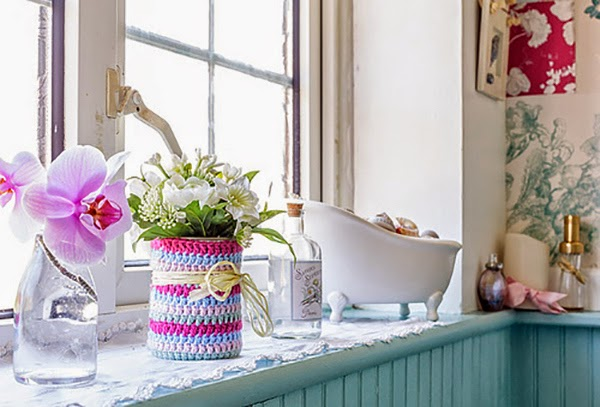 A+cath+kidston+filled+home+and+craft+roombathroom windowsill with crochet jar cover and flowers