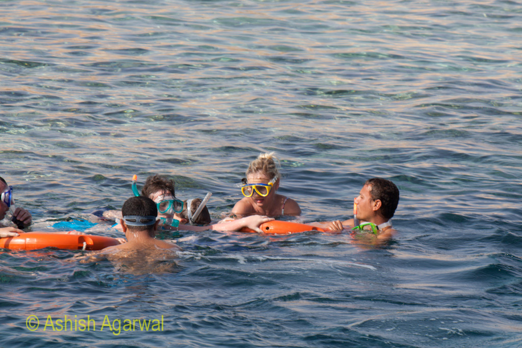People wearing snorkeling equipment and clustered around rubber tubes