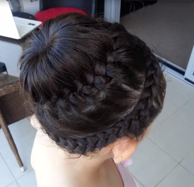 peinado recogido carrusel de doble trenza para nias