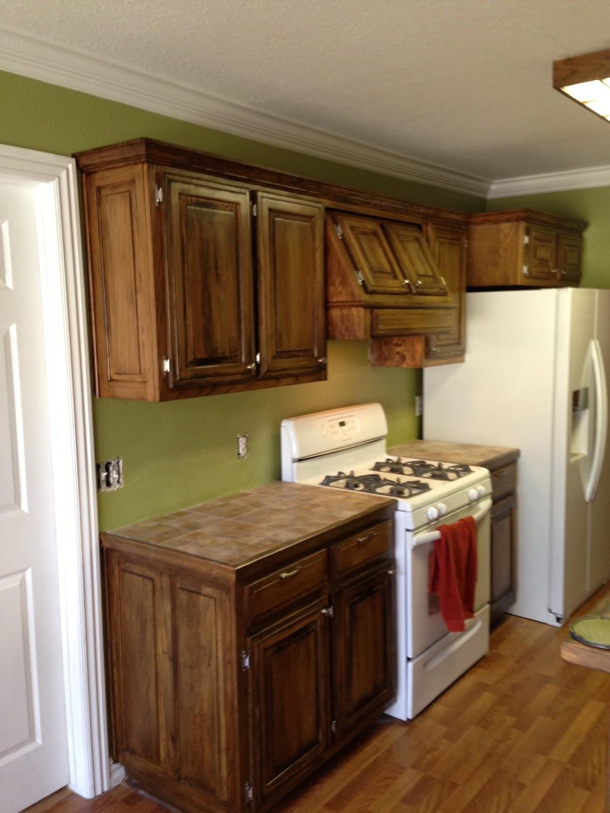 Dark Green Stained Kitchen Cabinets
