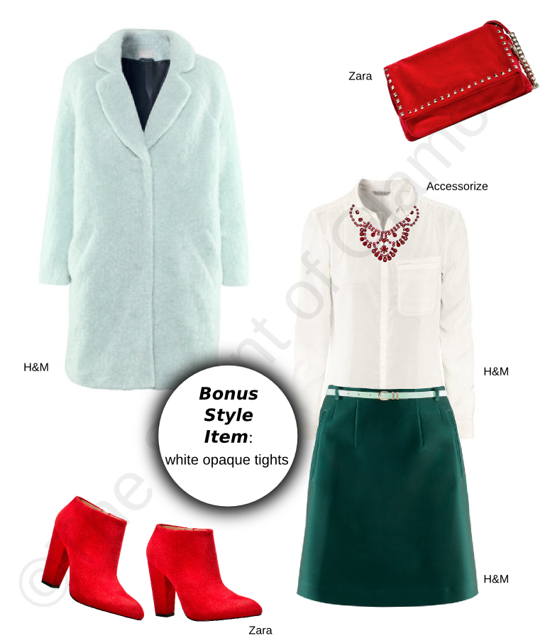 H&M coat, h&m green skirt, h&m white shirt, accessorize red necklace, zara red bag with studs, zara red ankle boots