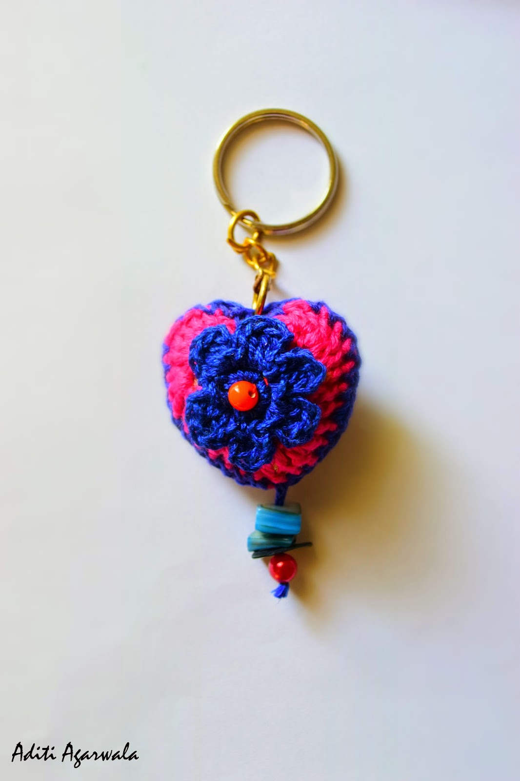 Pink heart and blue flower crochet keychain