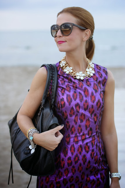 FFrench Connection disco dress, statement necklace, Fashion and Cookies, fashion blogger