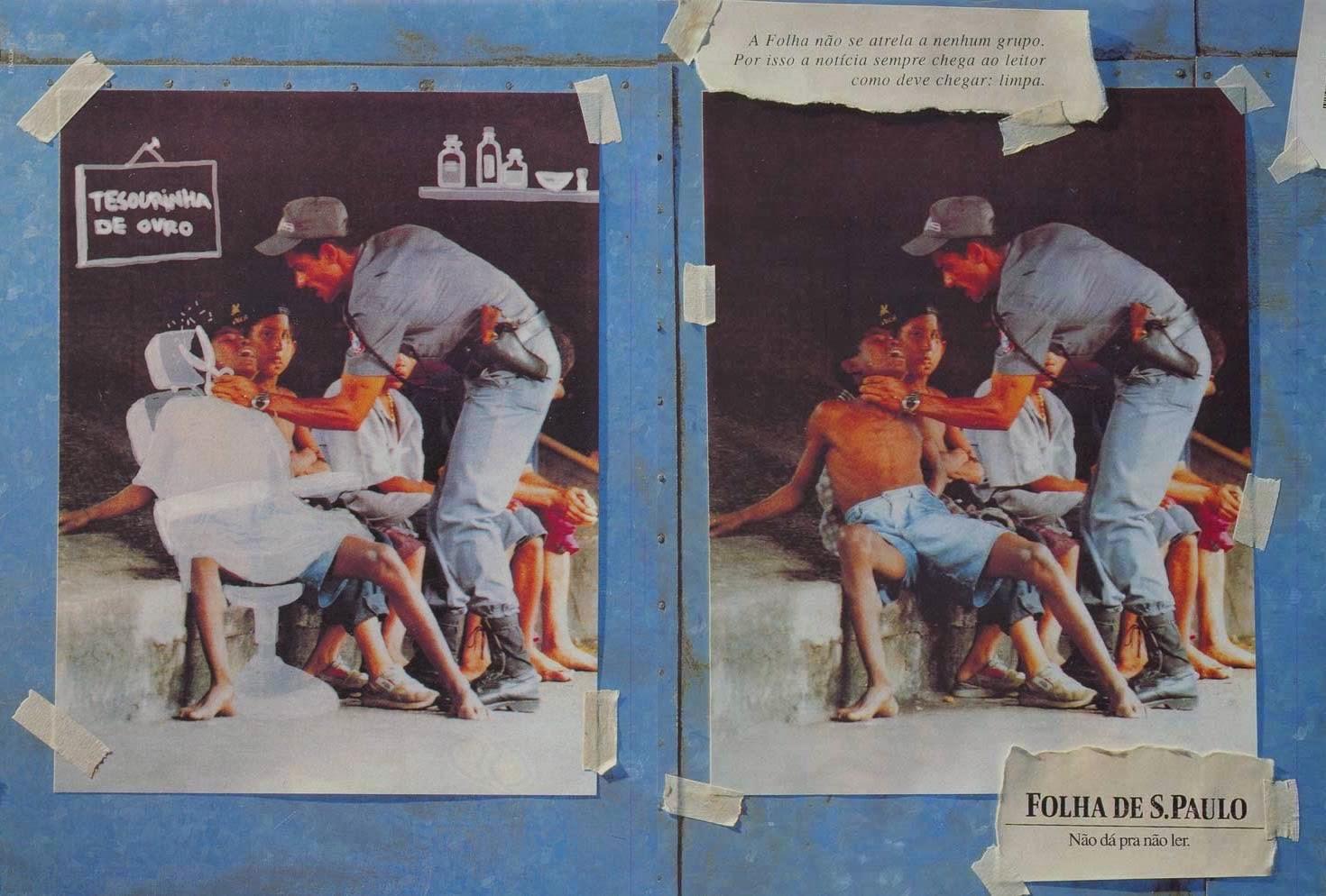 Propaganda do jornal 'Folha de São Paulo' que simulava uma distorção da notícia diante uma criança violentada.